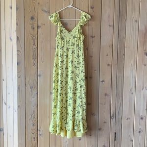 Japna Yellow Floral Maxi Dress• Size S